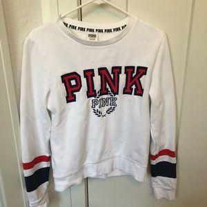 Victoria's Secret Pink White Crewneck Pullover